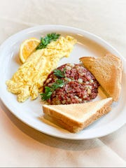 Breakfast foods like corned beef hash are a staple at Mr. Geez.
