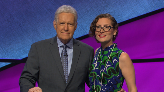 Elise Nussbaum, of Jersey City, with Jeopardy! Host Alex Trebek, during her time as a candidate.
