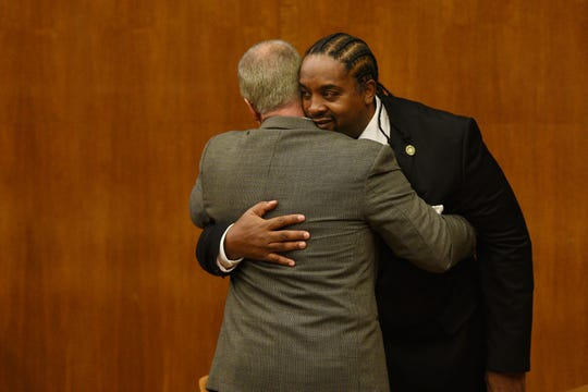 Actor and rapper Eric Barrier appears at Bergen County Court in Hackensack on Friday November 22, 2019. Barrier hugs his defense attorney Patrick Toscano after being sentenced to one year probation.