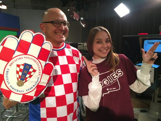 Karla Draksler shows off her Aggie pride with Hugo Perez, who is wearing a tribute to Draksler's home country of Croatia.