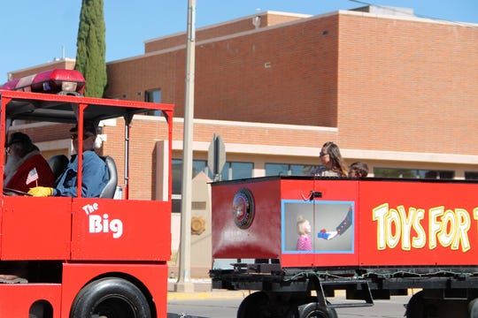 The Toys for Tots train in the Veterans Day Observance Parade Nov. 9.