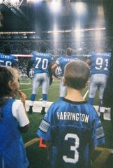 Denise Harting's son, Jeff Harting, served as the honorary captain at a Detroit Lions game.