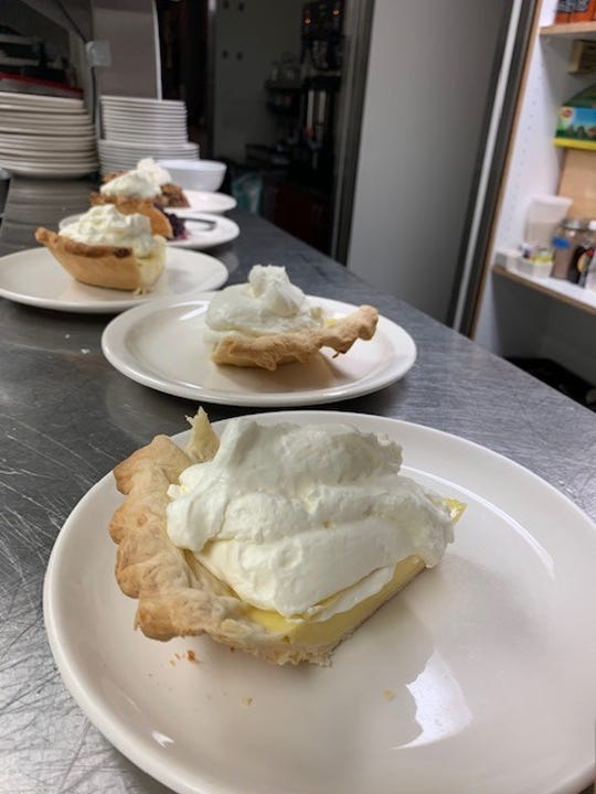 Banana cream pies in the service window at the Suarloaf Cafe on Highway 74.