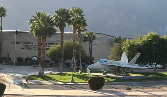 A retired military jet is displayed along the driveway at the Palm Springs Air Museum. A Desert Sun reader suggests the sound of military pilots training in jets above Palm Springs is nothing to gripe about.