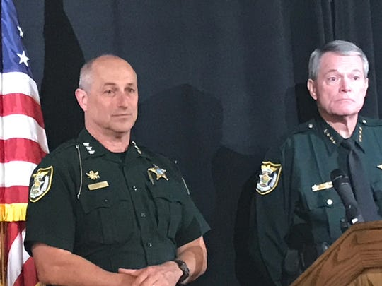 """Escambia County Sheriff's Office Chief Deputy Chip Simmons and Escambia County Sheriff David Morgan speak at a press conference Friday about """"Operation Rotten Pumpkins."""""""