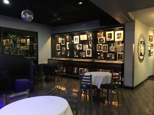 The walls of the Celebrity Club are lined with memorabilia spanning decades of music history.