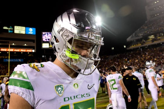 Oregon quarterback Justin Herbert (10) looks on after losing to Arizona State at Sun Devil Stadium in 2017. Could ASU win at home against the Ducks again in 2019?