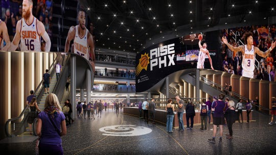 A view of the future main entrance at Talking Stick Resort Arena as it begins undergoing a $230-million renovation project.