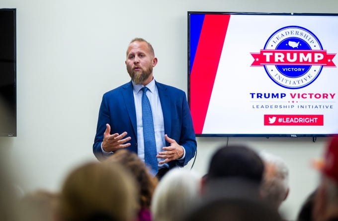 Trump campaign manager Brad Parscale addresses attendees during the Trump Victory Leadership Initiative training at the Arizona Republican Party Headquarters in Phoenix on Thursday, Nov. 21, 2019.