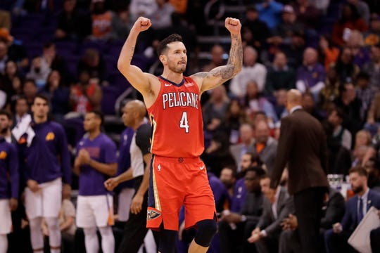 New Orleans Pelicans guard JJ Redick celebrates a basket during the second half of the team's NBA basketball game against the Phoenix Suns, Thursday, Nov. 21, 2019, in Phoenix. (AP Photo/Matt York)