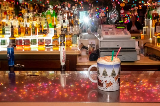 A prepared Tom and Jerry waits to be served on the bar at Brass Rail in downtown Port Huron Friday, Nov. 22, 2019.