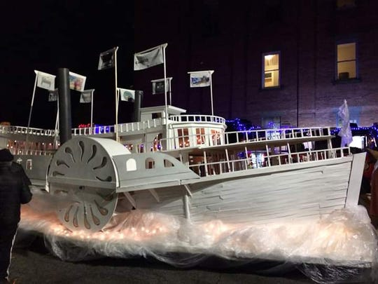 A float in the likeness of the Mary Powell is shown during Poughkeepsie's Celebration of Lights Parade. This year's event is set for Dec. 6.