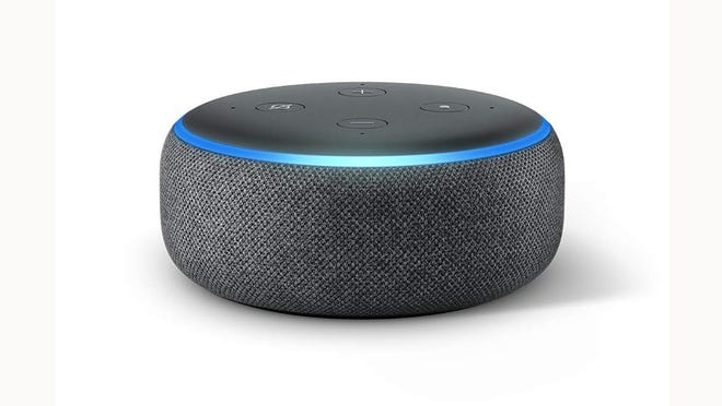 The Amazon Echo Dot smart speaker.