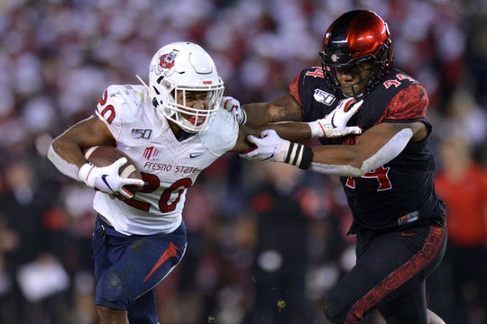 Fresno State running back Ronnie Rivers (20) leads the Mountain West with 14 total touchdowns this season.