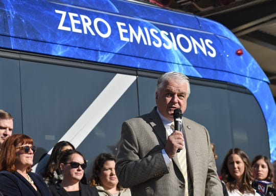 Nevada Governor Steve Sisolak speaks before signing the Executive Order that will advance the Nevada leadership on addressing Climate Change at the RTC Station transit Center on Friday Nov. 22, 2019.