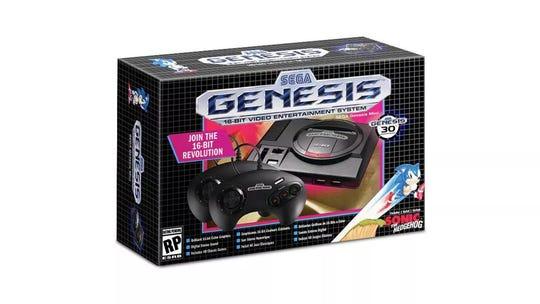 The Sega Genesis Mini retro gaming console.