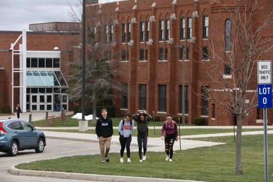 Students leave Brockport School District campus after a report of a bomb threat closed the schools. 