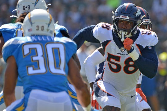 Denver outside linebacker Von Miller  leads a tough Broncos defense into Buffalo Sunday.