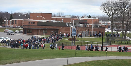 Students were evacuated from Brockport High School in the small Rochester, NY, suburb after a bomb threat at the school on Nov. 22, 2019.