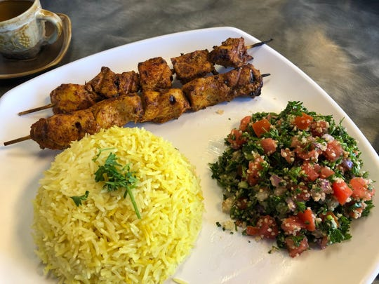 Chicken kebabs, rice and tabouli salad at Anthony's.