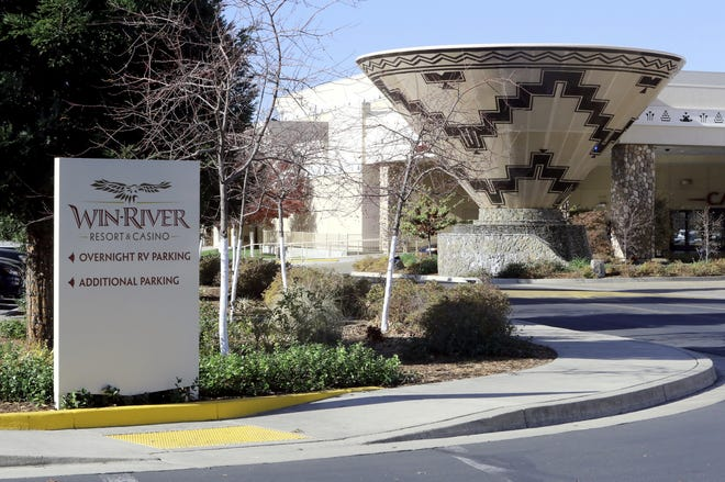 The Win-River Casino building south of Redding. The casino wants to expand to a field between Interstate 5 and the Sacramento River just south of Redding.