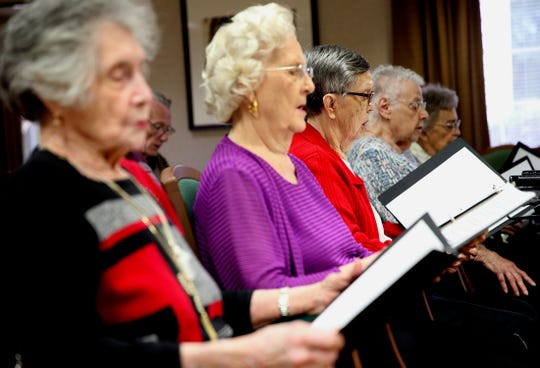 The Fa La La Singers rehearse at Lyndale Senior Living in San Angelo on Friday, Nov. 22, 2019.