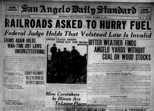 November 1919 was a busy month in San Angelo with the end of World War I and two major winter storms, the town struggled to find enough fuel.