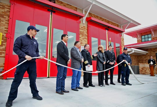 Guests gather at the new San Angelo Fire Department Station No. 4 for a grand opening ceremony Friday, Nov. 22, 2019.