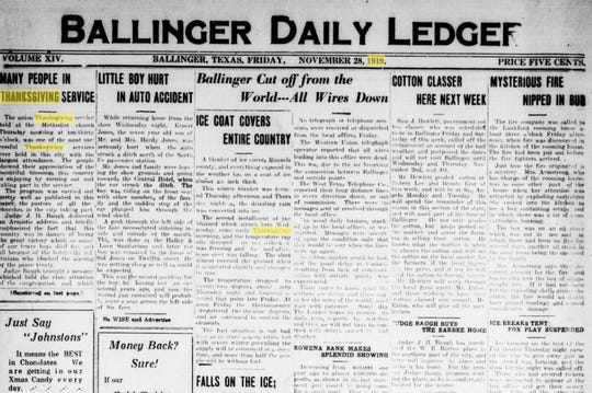 Ballinger Texas had a busy Thanksgiving week in 1919, with the second major winter storm of the month hitting town on Thursday morning.