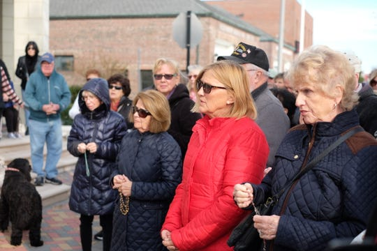 Christian demonstrators say their Hail Mary's on Thursday during a protest against Rehoboth Beach's decision to prohibit Nativity scene displays on city property.  Thursday, Nov. 21, 2019.