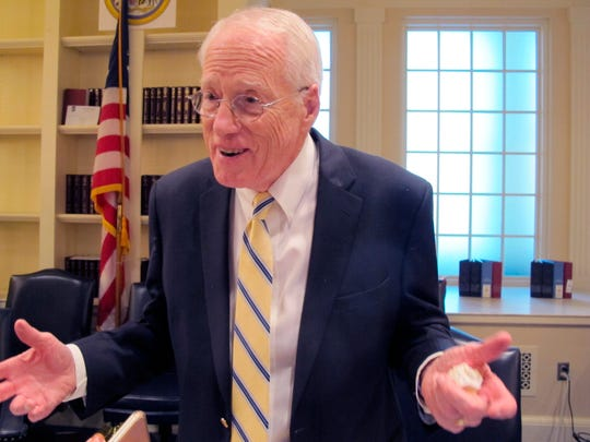 William Kirwan, the chairman of Maryland commission on education funding, talks to reporters on Thursday, Nov. 21, 2019, in Annapolis, after the panel voted on a sweeping package of recommendations to enhance K-12 education in the state.