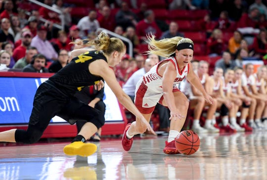 USD's Madison McKeever (23) and Mizzou's Jordan Chavis (24) dive for a loose ball during the game on Thursday, Nov. 21, 2019, at the Sanford Coyote Sports Center in Vermillion, S.D.