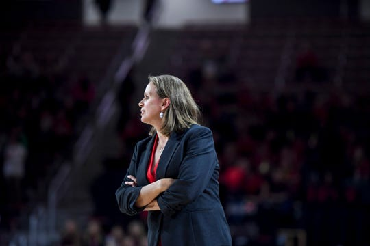 USD head coach Dawn Plitzuweit watches the game against Mizzou on Thursday, Nov. 21, 2019, at the Sanford Coyote Sports Center in Vermillion, S.D.