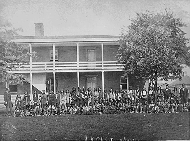 This image from the National Archives shows Sioux Indian boys as they were dressed upon arrival at Carlisle Indian School in Pennsylvania in 1879; many Indian boarding schools focused on education but also on depriving Native Americans of their language and culture.