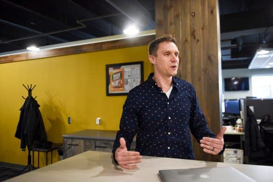 """Vice President of commercial operations Andy Cahoy sees Sioux Falls as a regional hub for the business on Thursday, Nov. 21, 2019, at Farmers Business Network in Sioux Falls, S.D. """"It's nice to know we're appreciated in the community and that folks have gone out of their way to encourage our growth,"""" Cahoy said."""