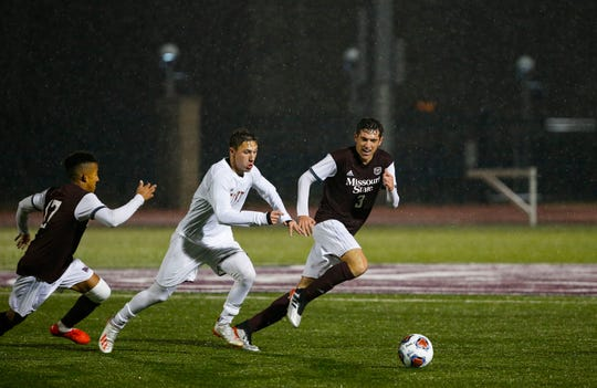 Rain didn't stop the Missouri State men's soccer team from defeating Denver 1-0 in the first NCAA Tournament soccer game Missouri State University has ever hosted on Thursday, Nov. 21, 2019.