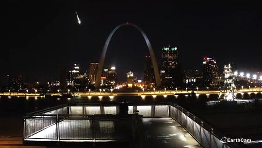 A brilliant meteor streaked above the St. Louis Arch on Nov. 11.  Some think fragments from the meteor may have landed in Missouri.