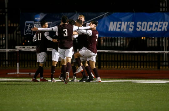 The Missouri State Bears mens soccer team celebrates after forward Matthew Bentley scored the only goal of the night on the Denver Pioneers in a first NCAA Tournament game at Missouri State University on Thursday, Nov. 21, 2019.