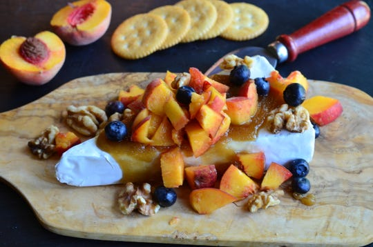 Peachy Brie takes less than 10 minutes to prepare and it makes a nice presentation.