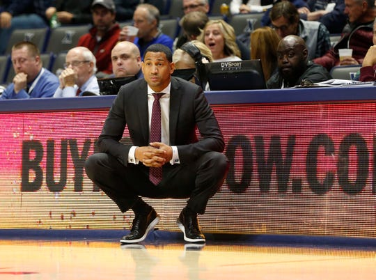 Nov 15, 2019; Cincinnati, OH, USA; Missouri State Bears head coach Dana Ford watches from the sidelines during the first half against the Xavier Musketeers at the Cintas Center. Xavier won 59-56. Mandatory Credit: Frank Victores-USA TODAY Sports