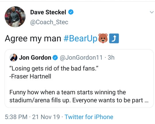 """A screenshot of a tweet by Missouri State head football coach Dave Stekel — who said he agrees with a tweet that reads """"losing gets rid of bad fans."""""""