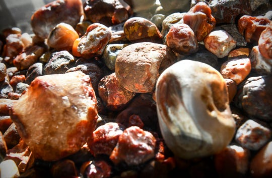 A collection of agates discovered and collected by Lyndon Johsnon is on display Friday, Nov. 22, 2019, at his home in Sauk Rapids.