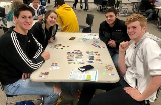 Mythology students at Sauk Rapids-Rice High School in the middle of Mythology: The Game