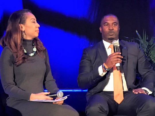 FAMU head coach Willie Simmons speaks at the Florida Classic Consortium Kickoff Luncheon Friday in Orlando. Rattler alum Tiffany Greene served as the emcee for the event.
