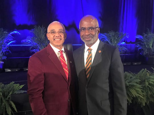Bethune-Cookman president LaBrent Chrite (left) and FAMU president Larry Robinson gave witty remarks during the Florida Classic Consortium Kickoff Luncheon in Orlando on Friday, Nov. 22, 2019.