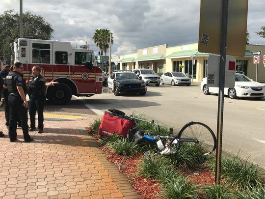 Vero Beach police at 19th Street and Old Dixie Highway said a man on a bicycle was pedaling the wrong way on a one way street when he was struck by a woman in Corvette.