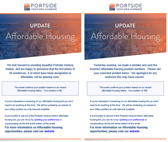 Ann Drummond received the email on the left from Portside around 5 p.m. on Wednesday, telling her she was number 36 on the waitlist. On Thursday around 10:40 a.m., she received the email on the right, telling her she was actually number 378.