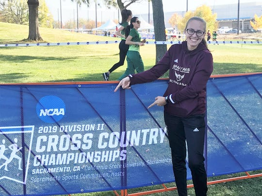 STAC's Abagaile Kimbrell smiles Friday while at the NCAA D-II X-C Championships in Sacramento, California.