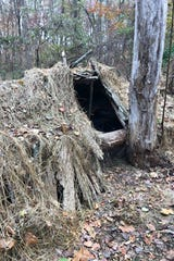 This photo provided by the U.S. Marshals Service in Wilmington, Del., shows a shelter where fugitive Drake Kately was found.