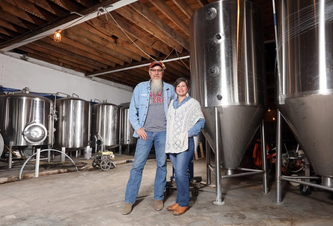 Dean and Jennifer Ponchak are working to open Old Bridge Brewing Company in downtown McConnelsville in the spring. Dean plans to start with four different beers on the brewery's 15-barrel system - a red ale, a brown ale, an India Pale Ale and a stout. They will also brew a couple more on a small batch system, to see what customers like.